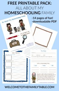 Free Printable Pack: All About My Homeschooling Family