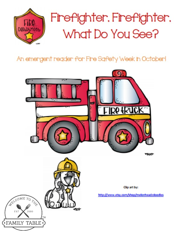 Free Fire Fighter Emergent Reader Printable