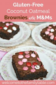 Looking for a great gluten-free treat? Try these gluten-free coconut oatmeal brownies with M&Ms!