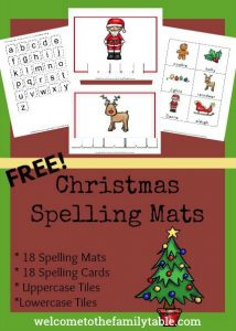 Come grab these fun and free printable Christmas Spelling Mats + Tiles!