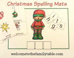 Free Christmas Spelling Mats