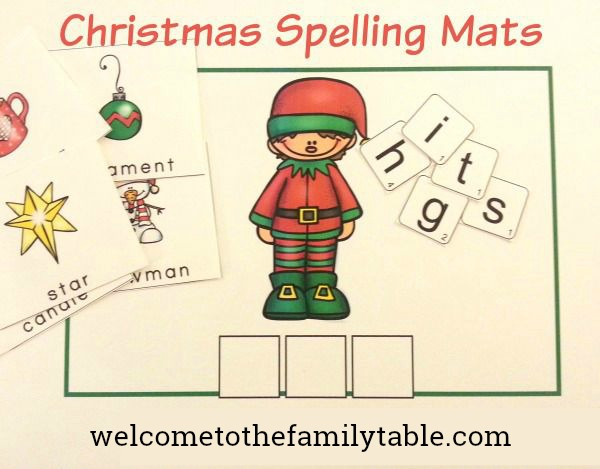 Free Christmas Spelling Mats