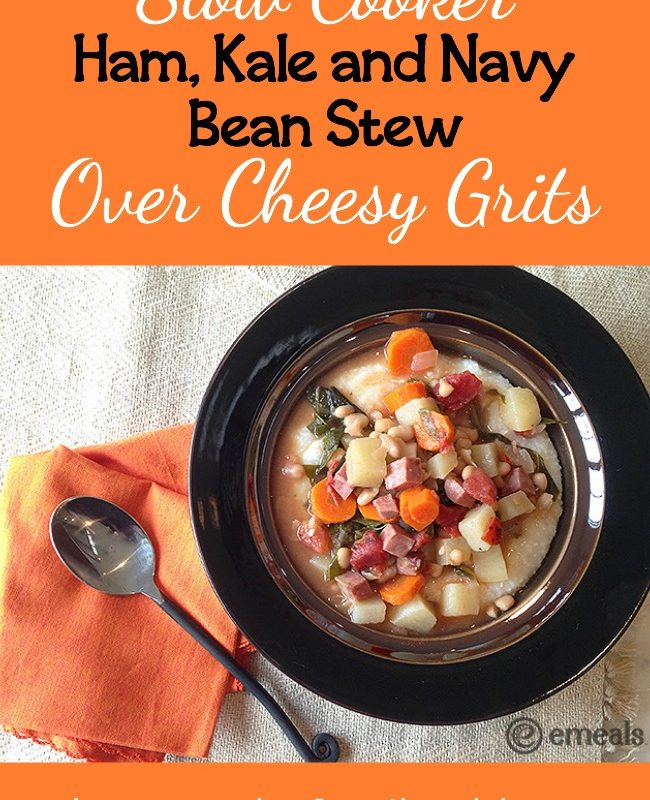 Slow Cooker Ham Kale and Navy Bean Stew Over Cheesy Grits