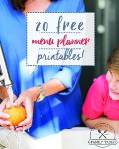 20 Free Menu Planner Printables Pin