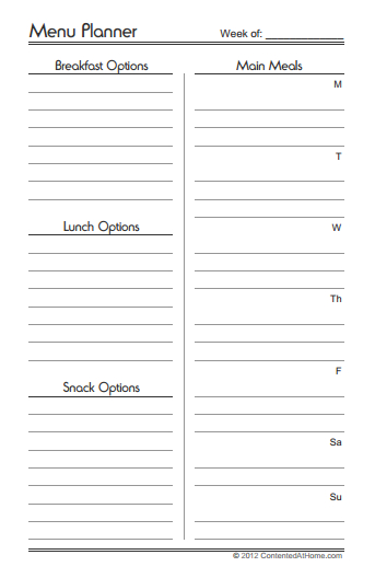 "graphic regarding Meal Planning Printable named 20 No cost Menu Planner Printables - Welcome in direction of the Family members Tableâ""¢"
