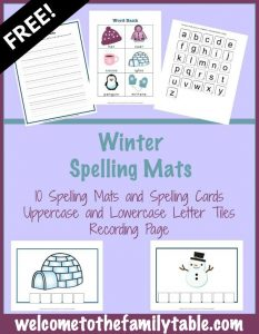 Grab your free winter spelling mats -- exclusively found at Welcome to the Family Table™.