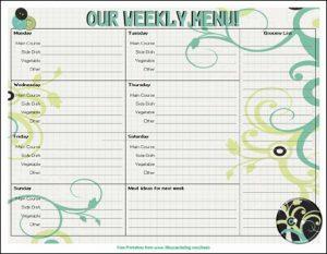 free menu planner from 3boysandadog.com