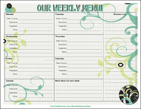 free menu planner from 3boysandadogcom