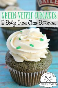 Green Velvet Cupcake with Bailey's Cream Cheese Frosting