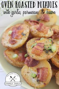Make these oven roasted potatoes with garlic and parmesan and bacon for your next gathering! :: welcometothefamilytable.com
