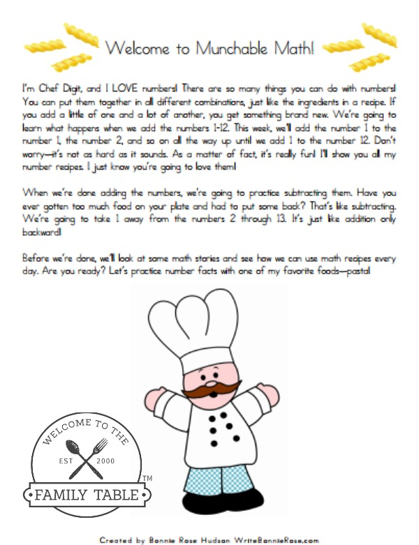 Free Elementary Math Worksheets: Munchable Math-Pasta! - Welcome to ...