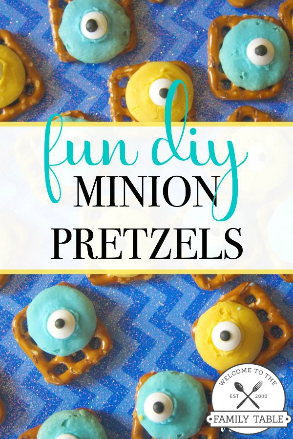 Looking for a fun way to get in the kitchen with your little Minion fans? If so, these DIY Minion pretzels are a sure way to have fun together! :: welcometothefamilytable.com