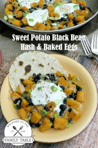 This sweet potato black bean hash with baked eggs is a healthy alternative to traditional breakfast! :: welcometothefamilytable.com