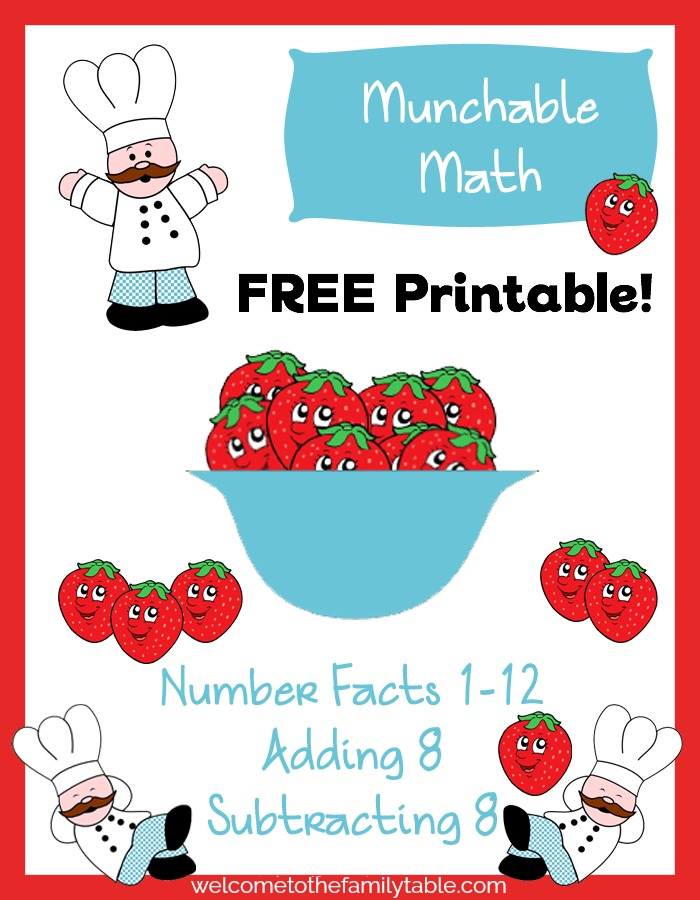 Free Elementary Math Worksheets: Munchable Math-Strawberries ...