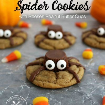 reeses peanut butter cup halloween spider cookies save print
