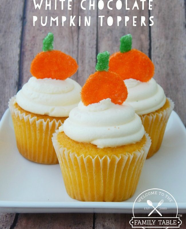 White chocolate pumpkin toppers are the perfect garnish for your fall desserts! :: welcometothefamilytable.com