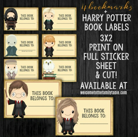 Printable Harry Potter Bookmarks + Book Labels