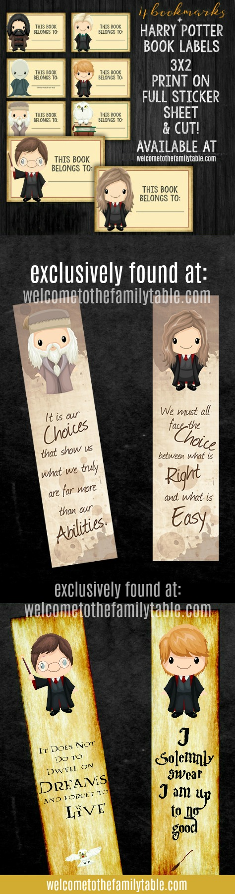 Come grab these adorable Harry Potter Book Labels + Bookmarks for your HP fan! Exlcusively found at Welcome to the Family Table™
