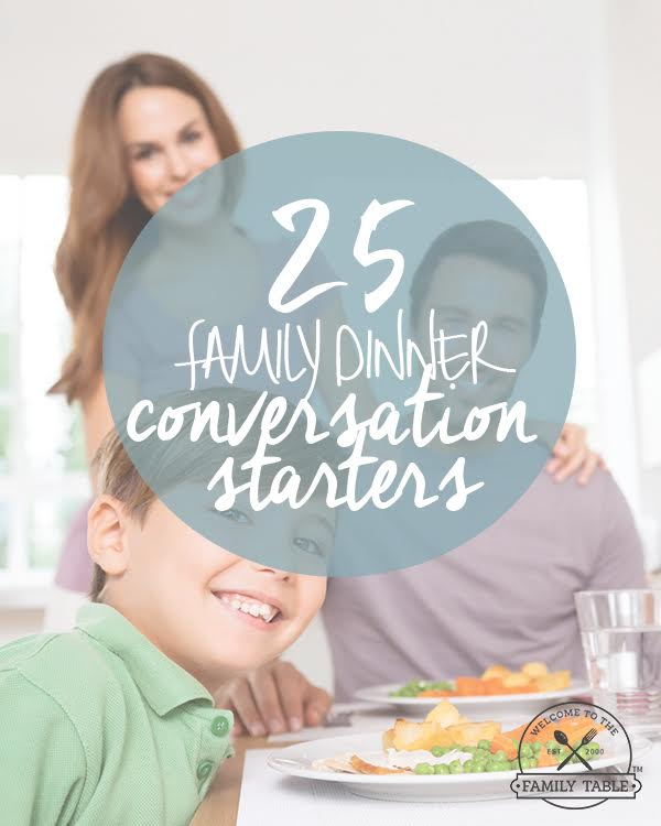 Looking for some fun ways to connect at the family table? Come see these 25 family dinner conversation starters! :: welcometothefamilytable.com