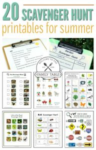 Looking for some fun activities for the kids this summer? Check out these 20 scavenger hunt printables for summer!