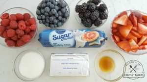 4th of July Red White Blue Fruit Pizza Ingredients
