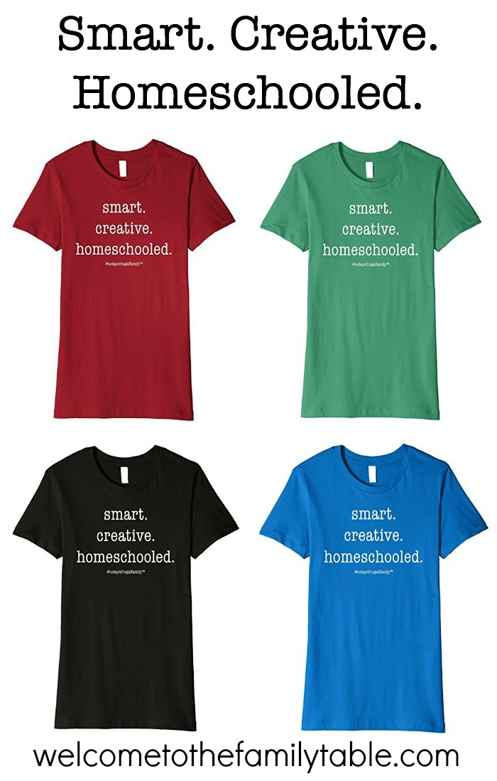 Smart. Creative. Homeschooled. This has been our family's slogan over the 12+ years we have been homeschooling and now we have created a t-shirt for it!