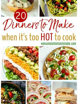 Are temperatures soaring and cooking just sounds dreadful? Beat the heat with these 20 dinners to make when it's too hot to cook!