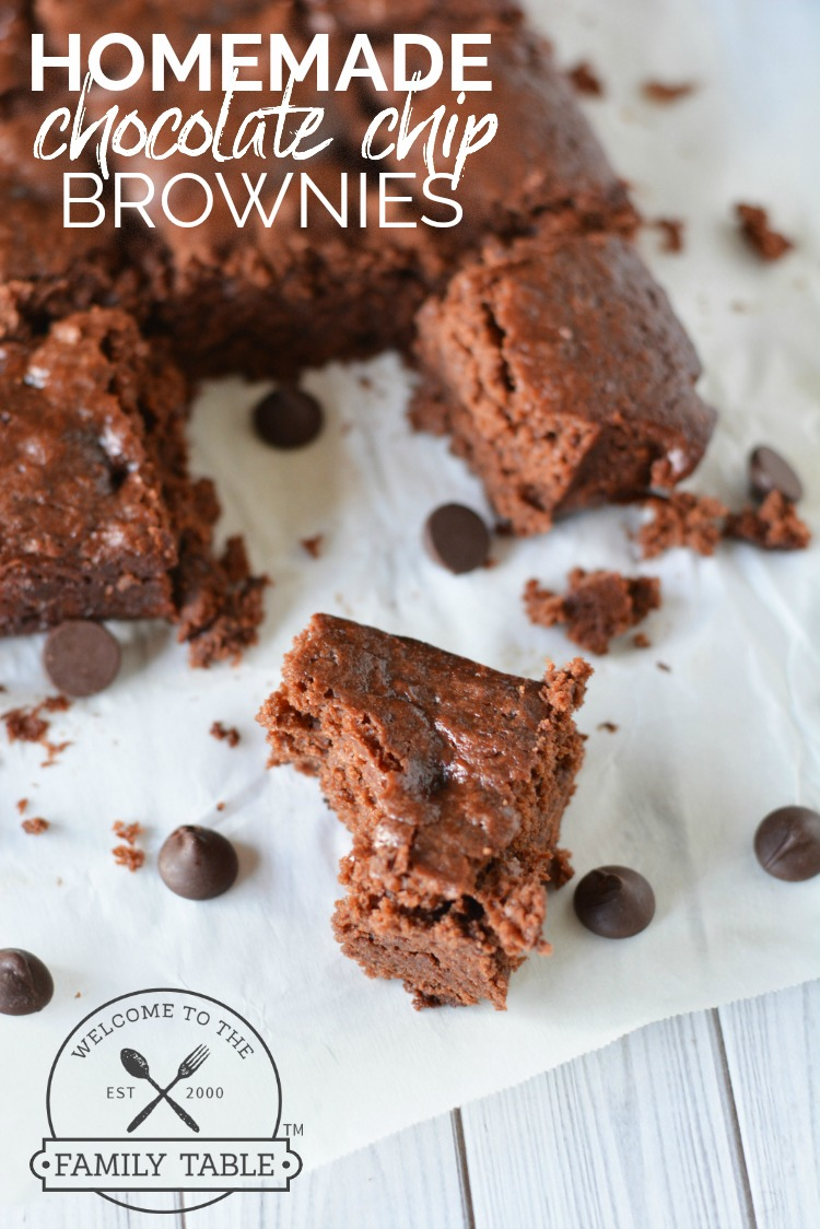Homemade chocolate chip brownies are a favorite treat in our home. We especially like this recipe as it is a little more on the chewy side; ...