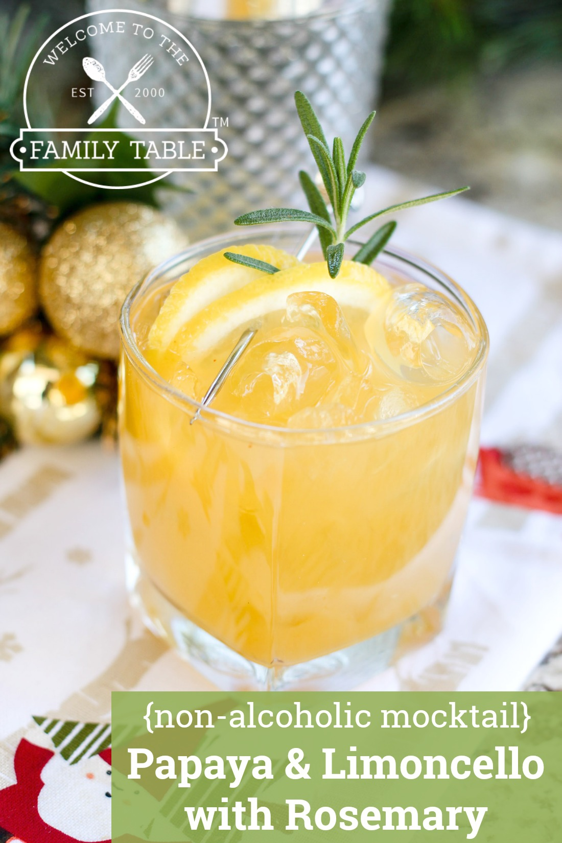Papaya & Limoncello with Rosemary Mocktail