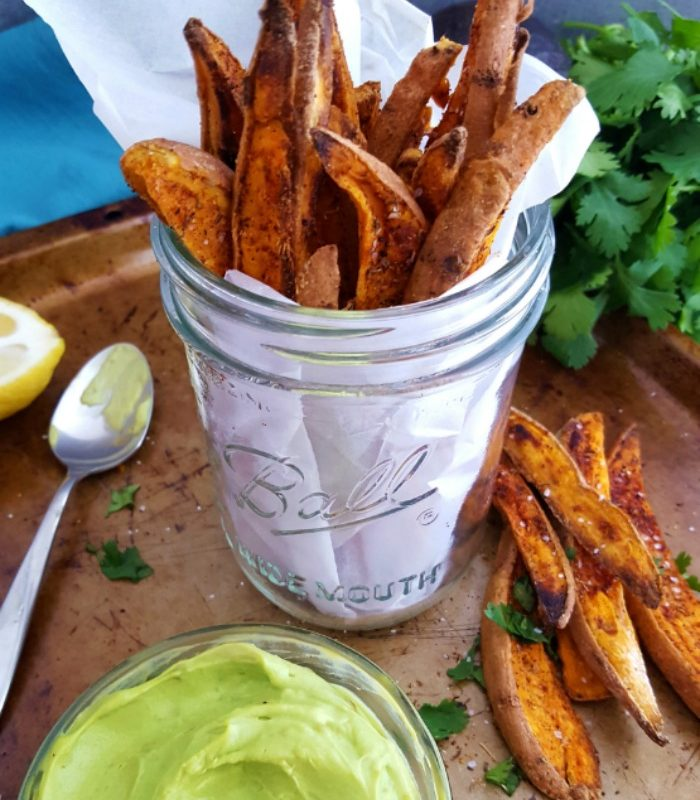 Sweet Potato Wedges with Avocado Garlic Aioli