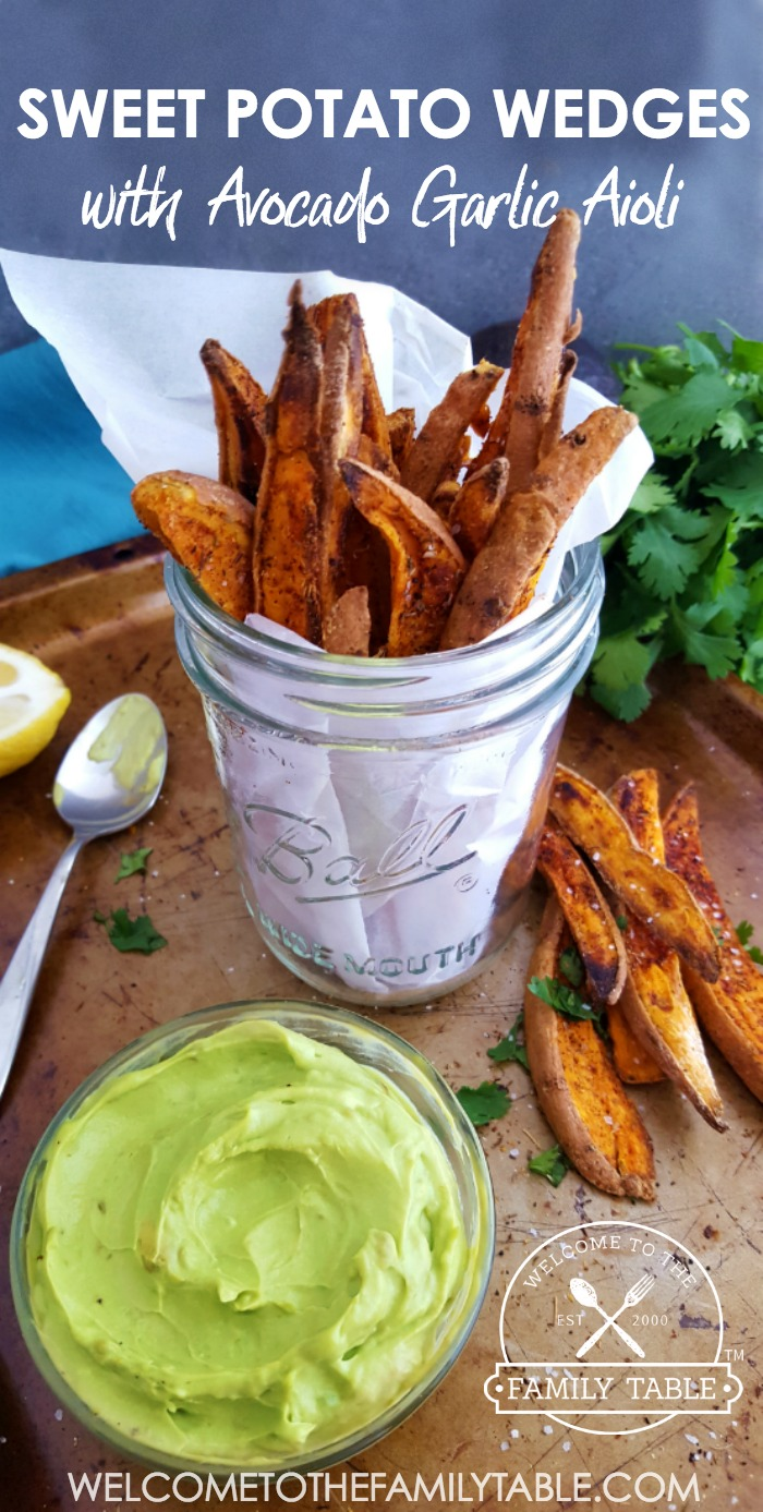 These sweet potato wedges with garlic aioli are the perfect snack or side any day of the week!