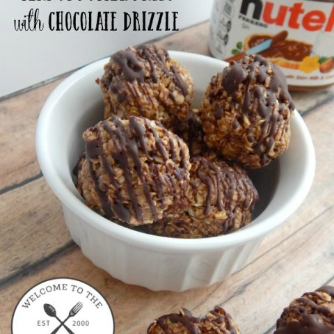 Nutella Peanut Butter Balls with Chocolate Drizzle