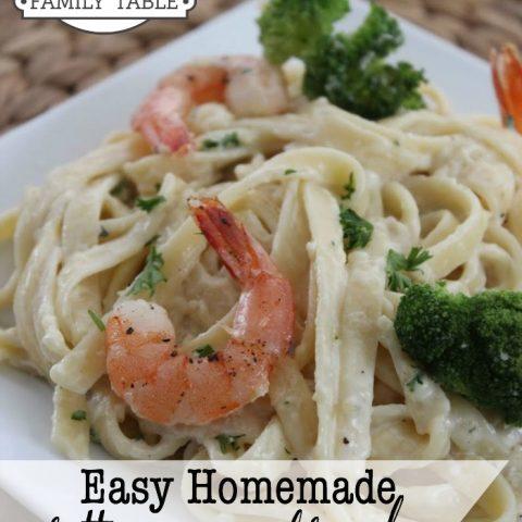 Easy Homemade Fettuccine Alfredo With Shrimp & Broccoli
